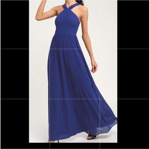 Lulus royal blue maxi dress size medium